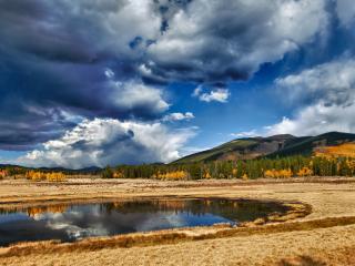 обои Природный водопой,   облачный день фото