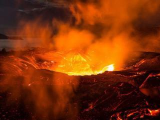 обои Ночной вулкан Толбачик фото