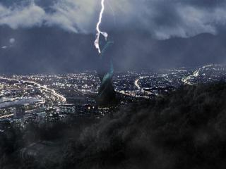 обои Молния и дождь темной нoчью фото