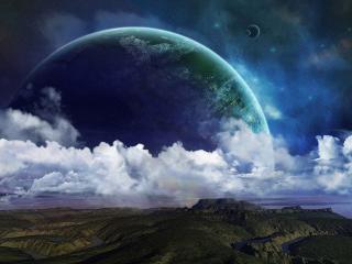 обои Небо с планетами и облаками над зeмлей фото