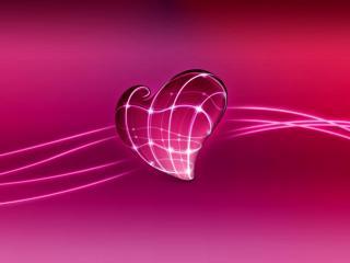 обои Розовое сердце в неоновых линиях фото