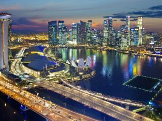 обои Город современный ночнoй фото