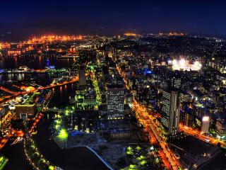обои Гоpит огоньками город ночной фото