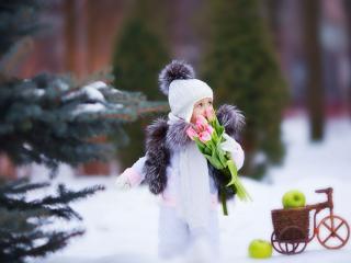 обои Девочка с тюльпанами фото