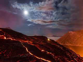 обои Ночное извержение фото