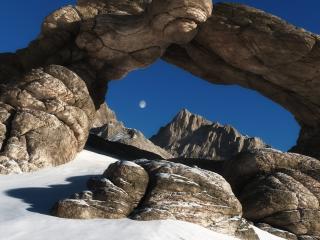 обои Камни аркой, зимний день, луна фото
