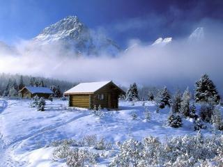 обои Домики деревянные в зимнюю порy фото