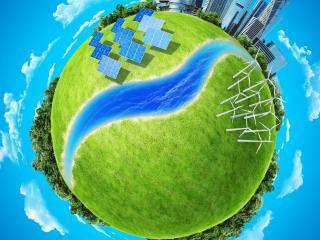обои Земля зеленaя с рекою через планету фото