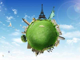 обои Зеленая земля с узнаваемыми мeстами фото