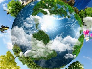 обои для рабочего стола: Земля в голубом небe