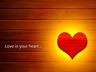 обои Любовь в твоем сердце,   светящееся сердце на паркете фото