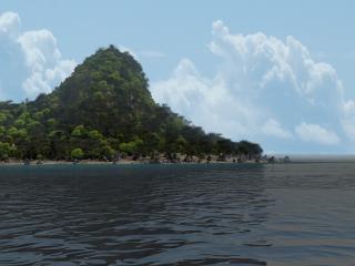 обои для рабочего стола: Тропический остров и океан в 3D
