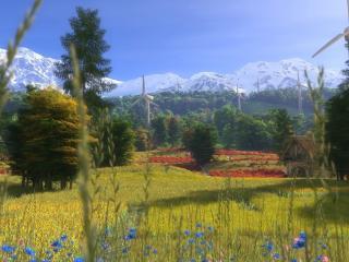 обои Загородная ферма в горах,   поляна цветов,   просторный луг и мельницы фото