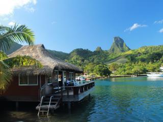 обои Курорт на тропическом острове,   бунгало на воде фото