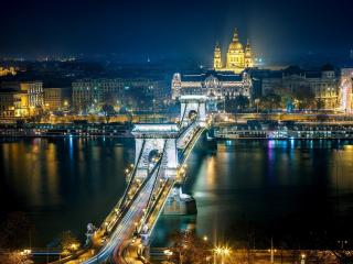 обои Мост с шикарными арками,   ночной город фото