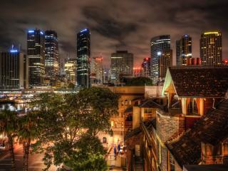 обои Ночной город,   вид с крыши жилого дома фото