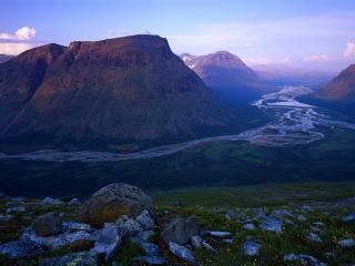 обои Панорама горного края природы,   вид с холма фото