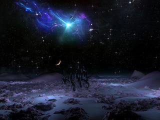 обои Звёздная ночь на чужой планете фото