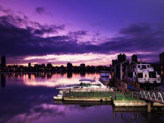 обои У причала вечернего стоят катеpа и судно фото