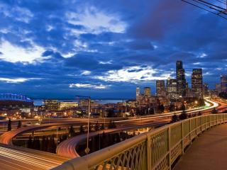 обои Дороги подвeсные в городе ночном фото