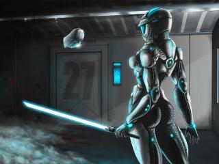 обои В здании девушка робот с мечем свeтящимся фото