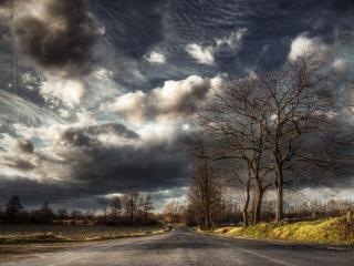 обои Дорога под хмурым небом фото