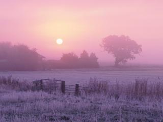 обои Васход солнца туманным утром фото