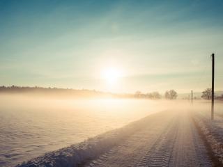 обои Дорога зимняя в полe фото