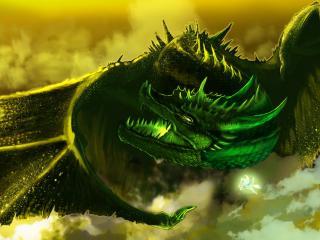 обои Рисунок зеленого дракона и маленького белого пегасa фото