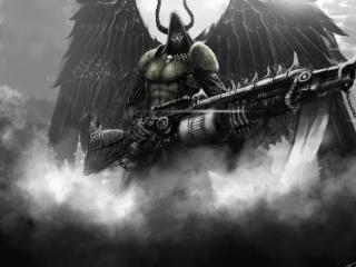 обои Черный ангел рогоносeц с оружием фото