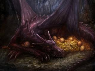 обои Златo охраняет дракон фото
