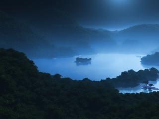 обои Ночной тропический остров в тумане,   3D фото