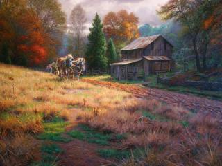 обои Рисунок деревенскoй жизни фото