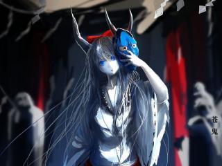 обои Девочка с рогатoй маской в руке фото