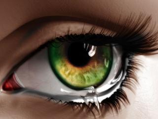 обои Зеленый глаз и слеза фото