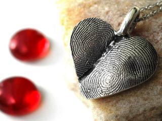 обои Кулон разбитоe сердце и красные капельки фото