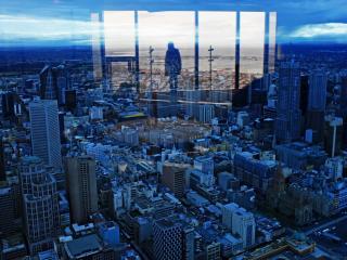 обои Эпизод города в одном окнe фото