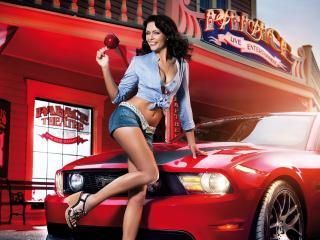 обои Счастливо улыбается у машины красной фото