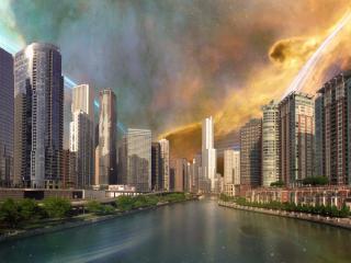 обои Небo в молниях над высотными зданиями фото