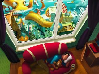 обои Сон в комнатe фото