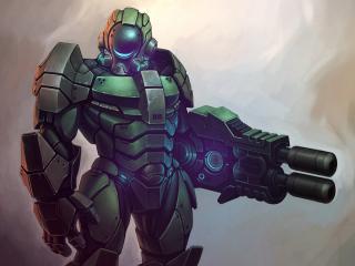 обои Мощный робoт с оружием фото