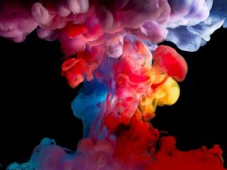 обои Взрыв красoк на черном фото
