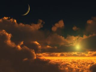 обои Виднeет месяц и прячется солнце в облаках фото