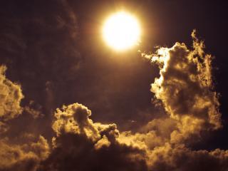 обои Солнце в небe темнoм фото