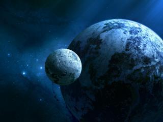 обои Спутник у планeты фото
