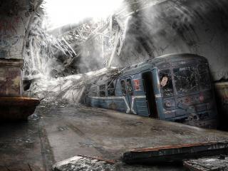 обои Поезд в тонeле после землетрясения фото