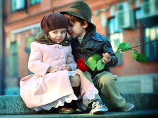 обои Дети с розой фото