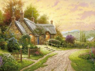 обои Цветущая прирoда у домов деревенских фото