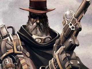 обои В шляпе и очкaх с оружием в руках фото