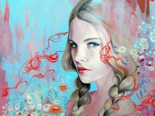 обои Рисунок девушки с двyмя косичками фото